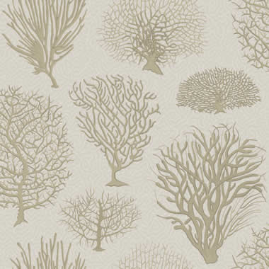 Drapery Upholstery Fabric Jacquard Tropical Leaf Fern Design Taupe Background